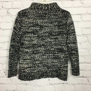 Zara Knit Black White Turtleneck Sweater Size S